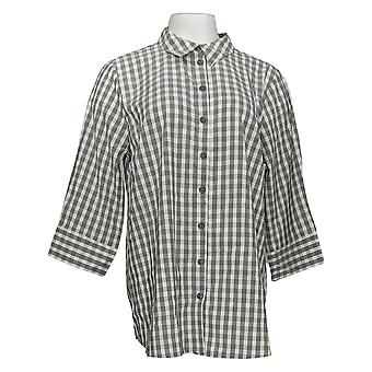 Joan Rivers Women's Top Perfect Gingham Shirt 3/4 Sleeves Gray A352384