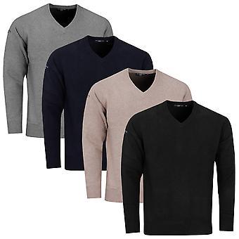 Glenmuir Mens 2021 Leven Lambswool Moisture Wicking Soft V-Neck Golf Sweater