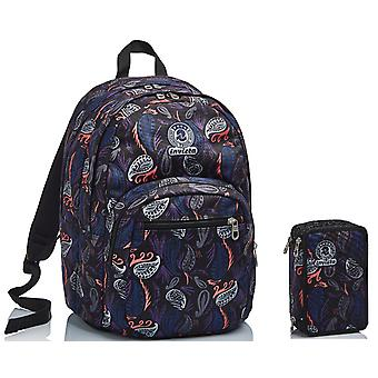 Schul-Kit - BACKPACK Format Invicta + CASE - Paisley