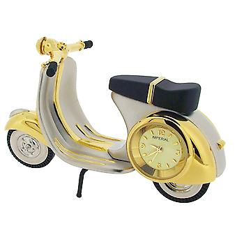 GTP Scooter/Vespa/Moped Chrome & Goldtone Plated on Alloy Novelty Desktop Collectors Miniature Clock  IMP1028