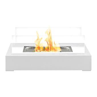Bio Ethanol White Fireplace Tabletop Firebox Burner Freestanding Modern Decor