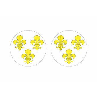 2x stick klistermärke rund cocarde fleur de lilies blanc frankrike