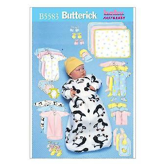 Butterick Ompelu kuvio 5583 Vauvat Vauvan haalari paita Huopa Hattu NB-M Leikkaamaton
