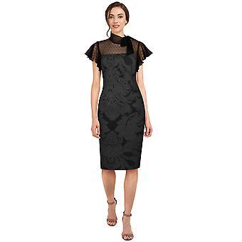 Tyylikäs tähtiverkko retro mekko musta / kukka