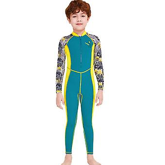 Kids wetsuit long sleeve one piece uv protection thermal swimsuit dfse-10