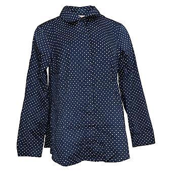 Isaac Mizrahi Live! Women's Top Button Down Collared Shirt Blue A389534