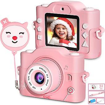 HanFei Kinderkamera, Digital Kinder Fotokamera und Videokamera mit Dual Lens/ 2 Zoll Bildschirm/