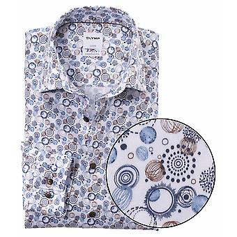 OLYMP Olymp Mens Big Size Comfort Fit Egyptian Cotton Pattern Shirt Formal White