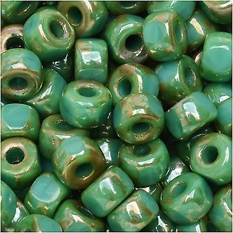 Tšekin lasi matubo, tri-cut 2/0 siemenet äkkiä, 20 gramman putki, turkoosi vihreä rembrandt