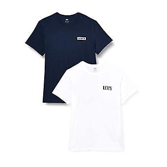 Levi's 2pk Crewneck Graphic T-paita, Valkoinen (2pack Tee White/Dress Blues 0002), Small (Pack of 2) Miehet