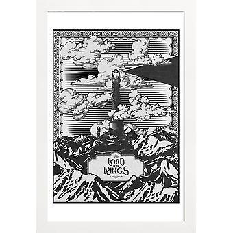 JUNIQE Print - Vintage Mordor Tower Eye of Sauron - Films Poster in Zwart-Wit