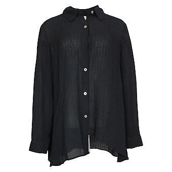 LOGO by Lori Goldstein Women's Top Blouse W/ Asymmetric Hem Black A376998