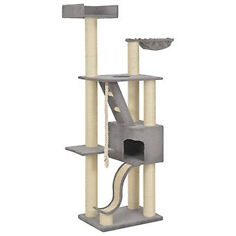 vidaXL Cat scratching post with sisal scratching columns Grey 180 cm XXL