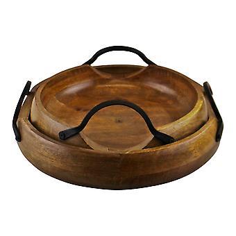 Uppsättning av 2 Mango Wood Bowls med metallhandtag