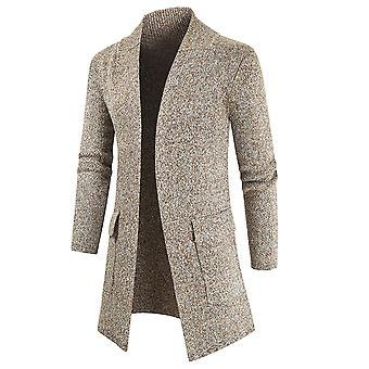 Men's Casual Mid-length Solid Color Long Sleeves Cardigan