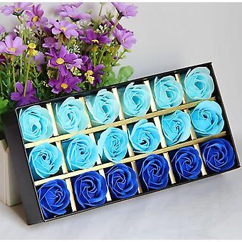 18 stuks geurende badkamer bloem bad lichaam zeep rose bloemblaadjes in geschenkdoos (blauw)