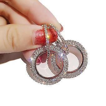 Ligero lindo diamante redondo mujeres pendiente oro rosa