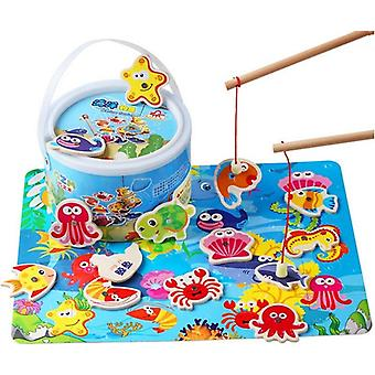 Toddler Baby Educational Puzzle Toy Fish Children Wooden Magnetic Fishing Game Toys Set For Fishing