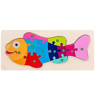 Children's Wooden Threedimensional Puzzles, Baby Educational Early Education, Cartoon Animals,wooden