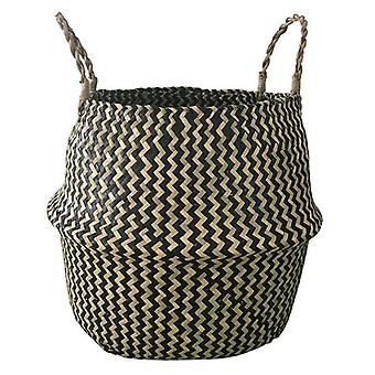 (Black) Seagrass Flower Belly Basket Woven Plant Pot Storage Bag Garden Decor Handmade *