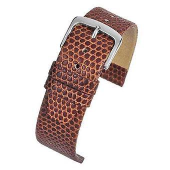 (16mm) Lizard Grain Kalf Lederen Horlogeband Lichtbruin Chroom Gesp Maat 12mm tot 22mm