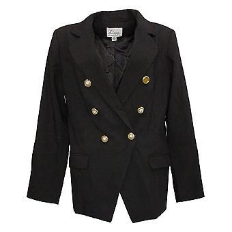 Linea av Louis Dell'Olio Kvinners Double Breasted Blazer Black A378656