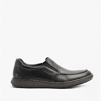 Rieker 17370 Cuero para hombre Extra Ancho Slip En Zapatos Negro