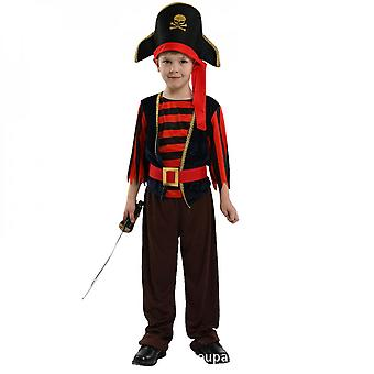 Children's Pirate Costume With Shoes, Hat And Belt Men's And Women's Clothing Pirates Of The Caribbean Captain Set-(b0205)
