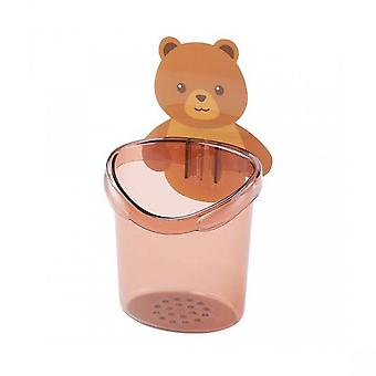 Home Decor Gift Figure Collection Storage Cup Lovely Strong Stickness Plastic Cute Bear Toothbrush Toothpaste Holder For Home