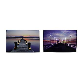 Serene Pier At Sunset LED Lighted Canvas Print Set