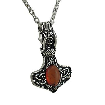 Alchemy Gothic Amber Dragon Thor's Hammer Pendant w/ Necklace