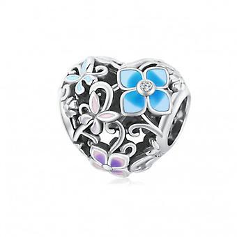 Sterling Silber Charm Blume Und Schmetterling - 7120