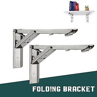 2PCS Soporte plegable de mesa plegable, espacio de estante de banco engrosado montado en la pared