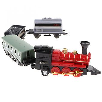 Retro Alloy Train Toy Alloy Die-casting Retro Steam Train Pull Back Car Set Children's Toy Gift-red
