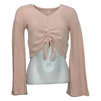 WVVY by Fitty Britttty Women's Sweater Crinch Front V Neck Pink 729482