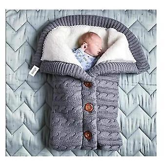 Nyfödd baby filt tjock varm barnvagn stickad filt plus sammet