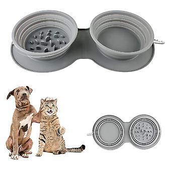 Taitettavat koirankulhot, kannettavan matkakissan ruokakulho, taitettava ja laajennettava kuppi liukumattomalla silikonimatolla ja karabiini matkalle.