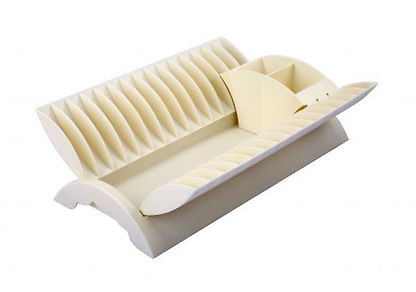 Cream - Plate Drainer Kitchen Dish Rack With Cutlery Holder Plastic