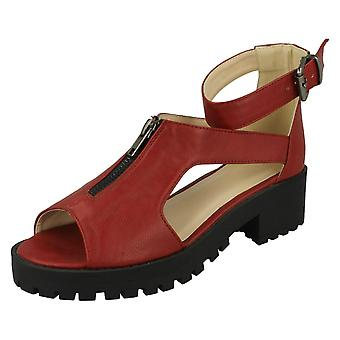 Ladies Spot On Casual Ankle Buckle Sandals F10373