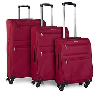 Set 3 suitcases Trolley 50/60 / 70Cm expandable polyester Eva.  Light and semi-rigid. Telescoping handle, 2 handles, 4 wheels. Small no-frills Ryanair I52700