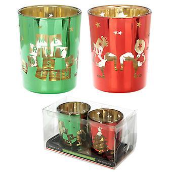 Puckator Set of 2 Tealight Holders, Christmas Elf