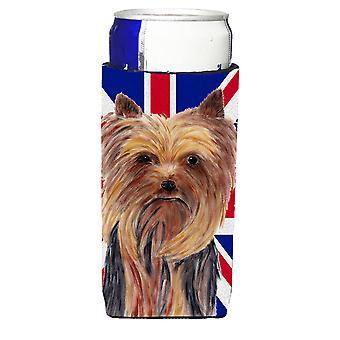 Yorkie mit englischen Union Jack britische Flagge Ultra Getränke Isolatoren für schlanke c