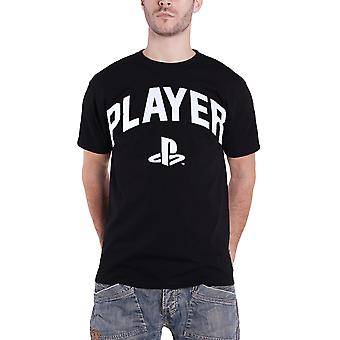 Playstation T Shirt Player Block Text Classic Logo new Official Mens Black