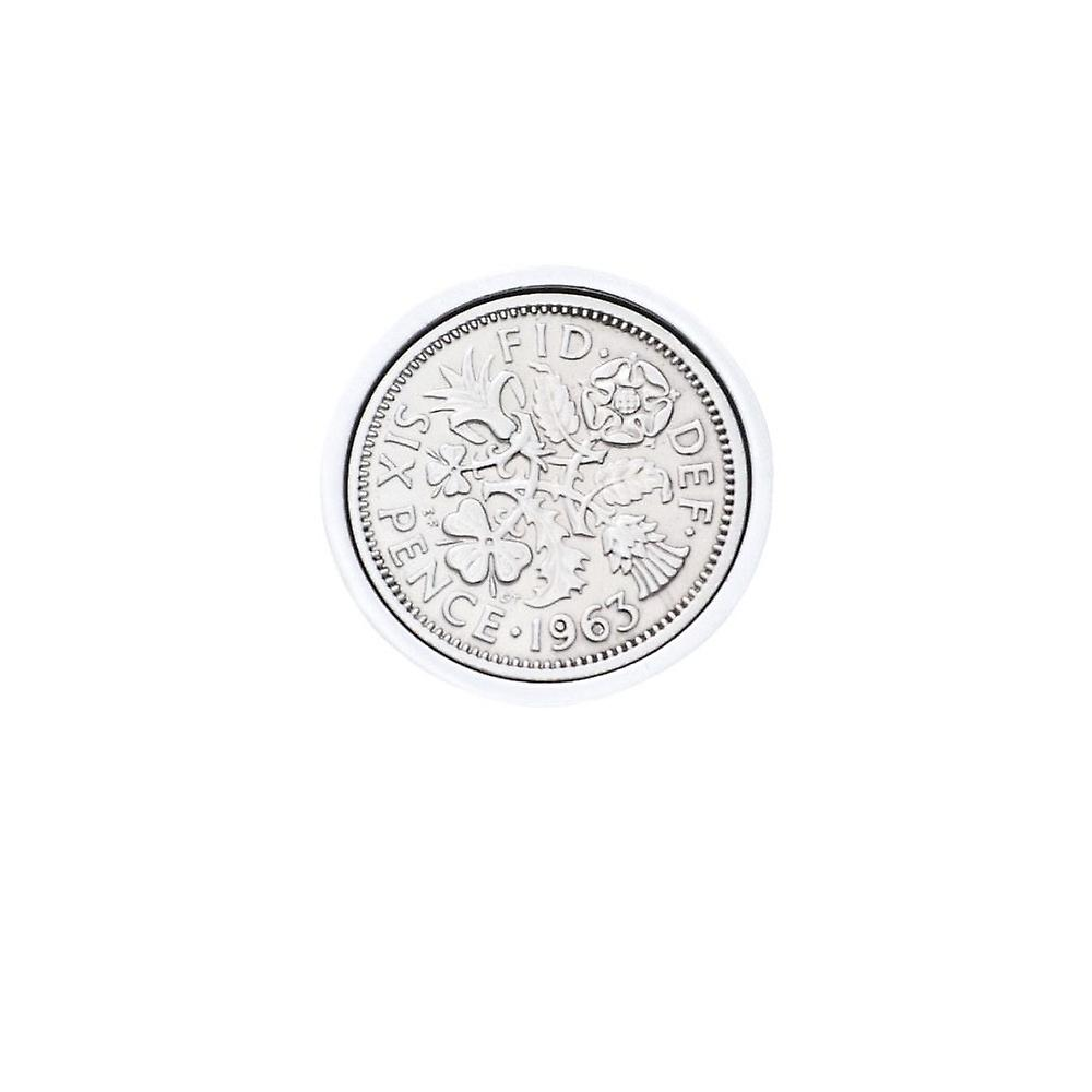 Genuine Polished 1963 Sixpence in Lapel Pin | 1963 anniversary, 56th birthday