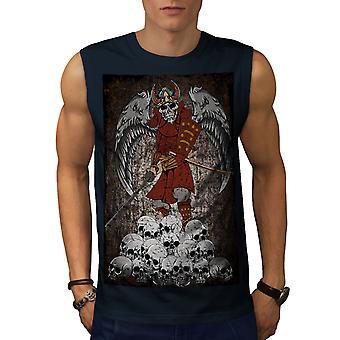 Katana skjelett Skull menn NavySleeveless t-skjorte | Wellcoda