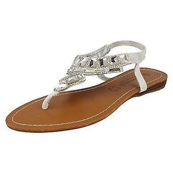 Ladies Savannah Flat Diamante juvelen Trim Toe innlegget Sandal F0857