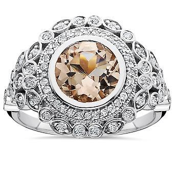 2 1 / 3ct Morganit & Diamond Vintage Halo-Ring 14K White Gold