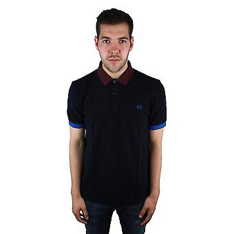 Fred perry M9552 608 Colour Block Pique Navy Polo Shirt