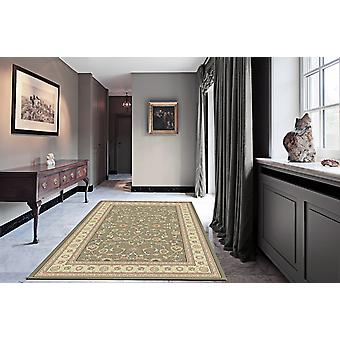 Noble Art 6529-491 Grey-green centre with gold-ivory border and viscose accents . Circle Rugs Traditional Rugs