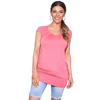 KRISP señoras bajo corte liso cadera larga línea Top camiseta túnica verano vacaciones